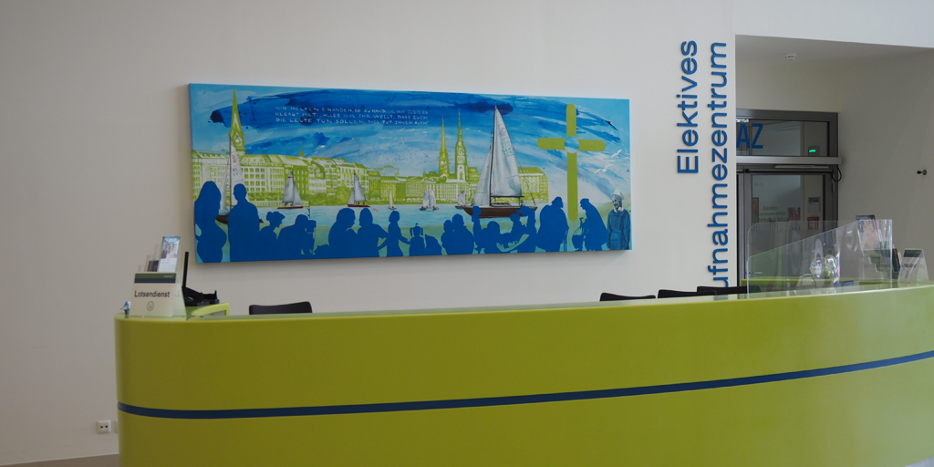 Raumansicht Empfangstresen Albertinen Krankenhaus - mit Gemälde