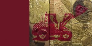 Collage Radlader aus Messingschrott