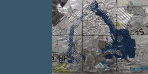 Wandrelief Kran aus Messingschrott