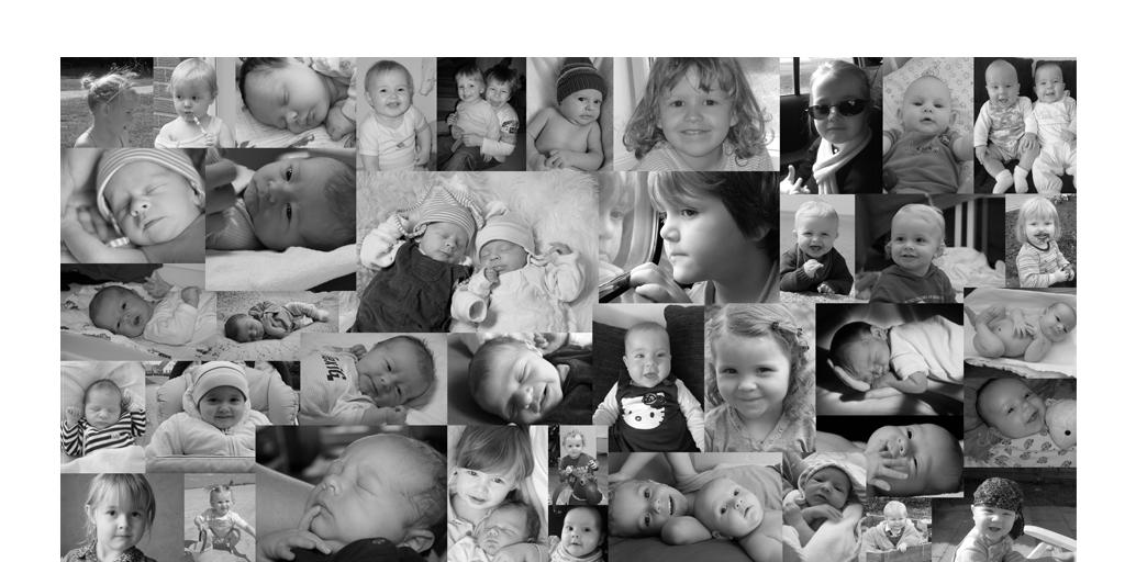 zahlreiche Babymotive als Collage angelegt