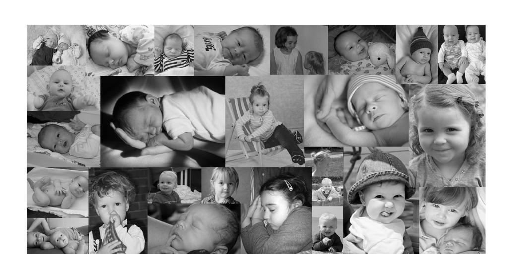 Collage mit Babyfotos schwarz-weiß