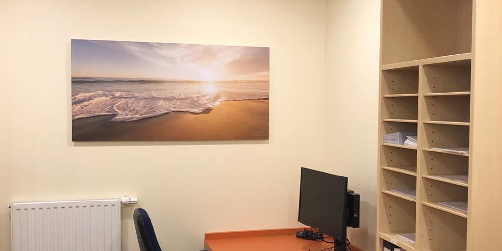 Ein Fotodruck am Arbeitsplatz