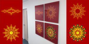 Fraktale Kunst - vierteilig - rot