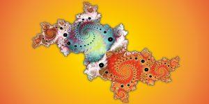 Fraktale Kunst des Künstlers Klaus Sellmann mit orangem Ornament