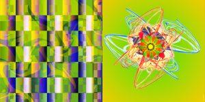 Fraktale Kunst - grün gelb von Klaus Sellmann