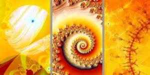 Fraktale Kunst des Künstlers Klaus Sellmann mit orangen Ornamenten