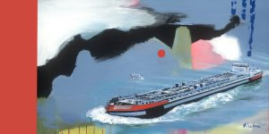 Gemälde mit Binnenschiff von Jens Reetz