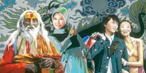 Gemälde des Künstlers Jens Reetz mit Menschen aus verschiedenen Teilen der Welt