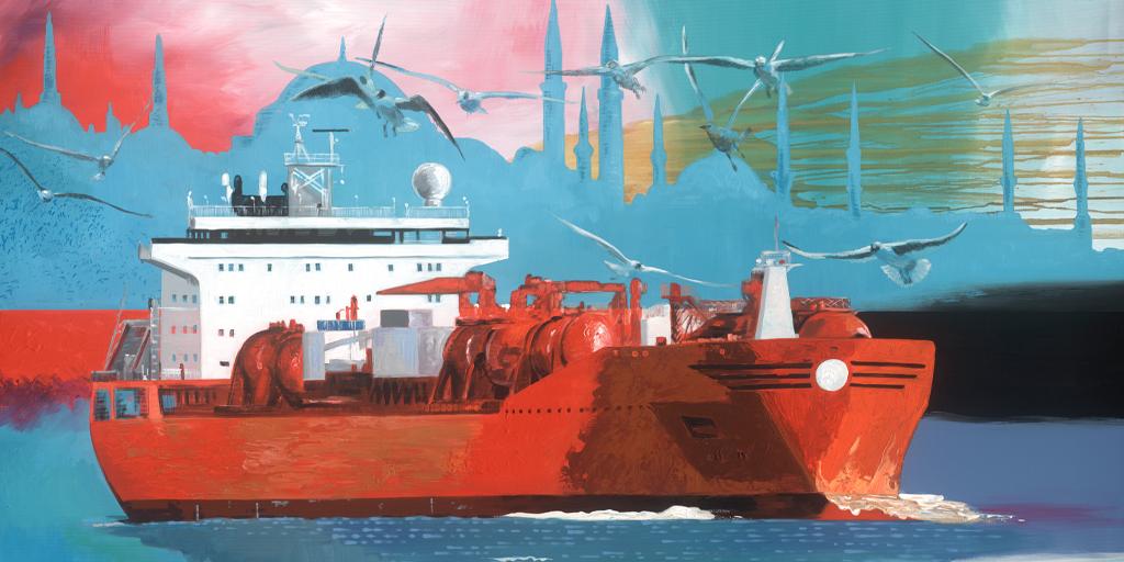Gemälde des Künstlers Jens Reetz mit einem Seetankschiff