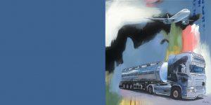 Gemälde des Künstlers Jens Reetz mit Tanklastzug und Flugzeug