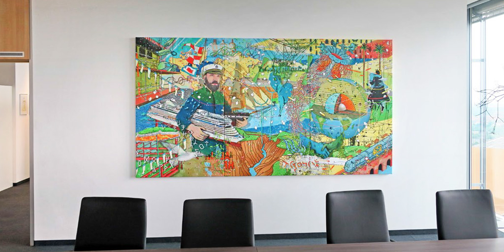 Ein dreiteiliges Gemälde von Johann Büsen für einen Besprechungsraum