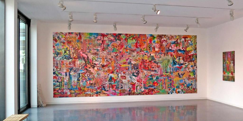 Großformatiges Wandgemälde von Johann Büsen