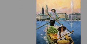 Gemälde von Uwe Fehrmann mit einem Boot auf der Alster