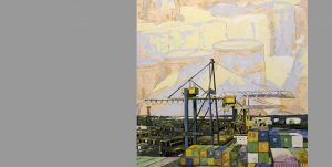 Gemälde des Künstlers Uwe Fehrmann mit einem Hafenmotiv