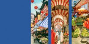 Gemälde der Künstlerin Meike Kohls mit Marktszenen weltweit