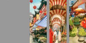Dreiteiliges Gemälde von Meike Kohls zum Thema Märkte weltweit