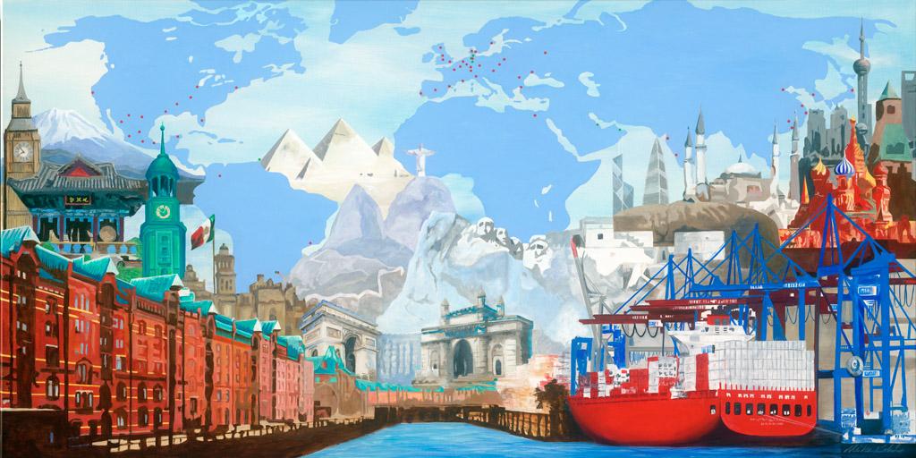 Gemälde mit Motiven aus Hamburg und der Welt von der Künstlerin Meike Kohls