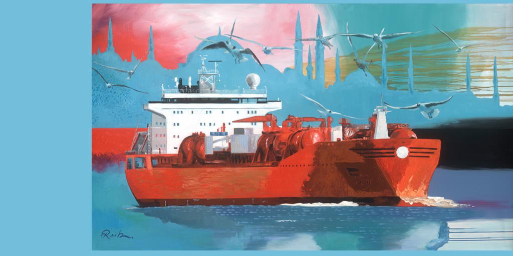 Gemälde mit Containerschiff von Jens Reetz