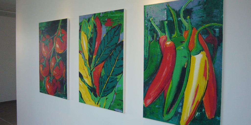Drei Gemälde des Künstlers Christian Damerius - Tomate Lorbeer Pfeffer - Projekt Hela Gewürzwerk GmbH