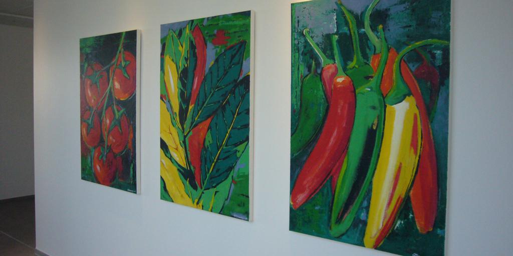 Gemälde - Projekt Hela Gewürzwerk GmbH - Künstler Christian Damerius - Tomaten, Lorbeer, Pfeffer