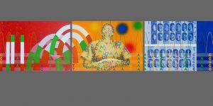 Dreiteiliges Gemälde von Meike Kohls Diagnose - Behandlung - Heilung