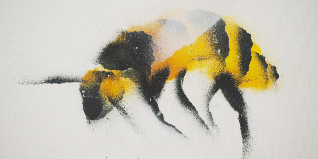 Künstler Vaine Sascha Siebdrat - gesprayte Biene