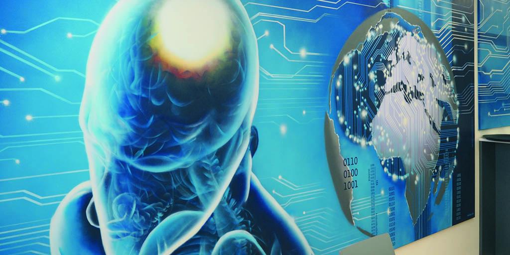 Großformatiges Gemälde von Sascha Siebdrat - Motiv Mensch und Weltkugel