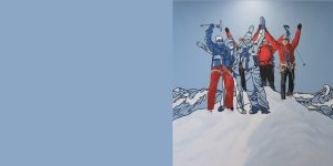 Gemälde mit Gruppe von Bergsteigern auf dem Gipfel von Meike Müller