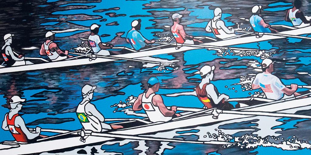 Gemälde von Meike Müller mit zwei Ruderbooten
