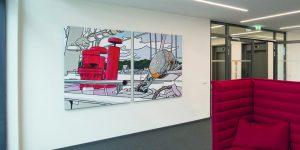 Zweiteiliges Bild der Künstlerin Meike Müller Schiff mit rotem Schornstein - Projekt tesa SE