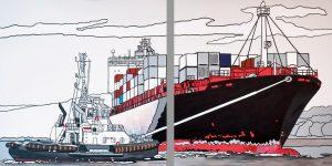 Zweiteiliges Gemälde von Meike Müller mit Schlepper und Frachter
