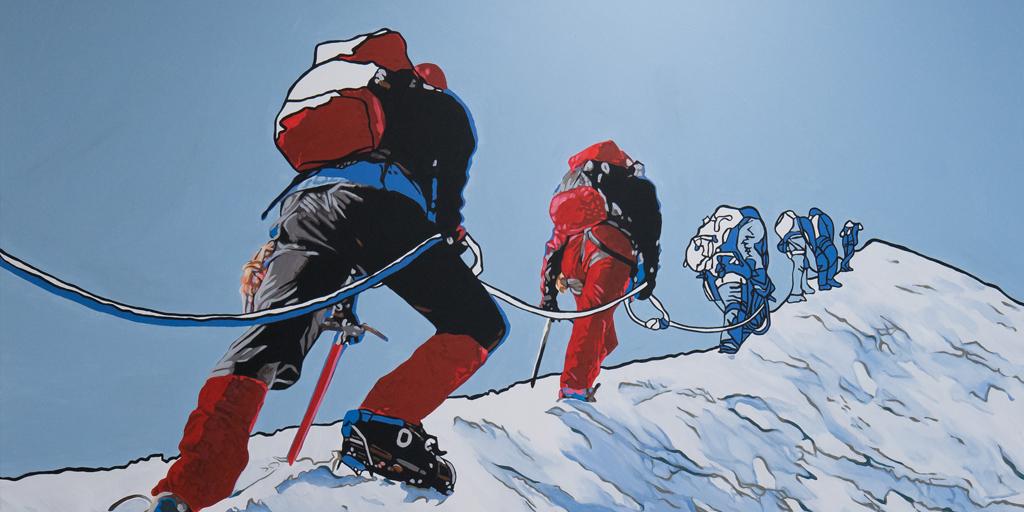 Gemälde mit Bergsteigern von Meike Müller