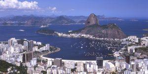 Rio de Janeiro, Brasilien, Blick zum Botafogo Strand, Yachthafen, Zuckerhut