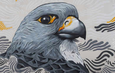 Ausschnitt aus Wandbild Taube in Reykjavík Island