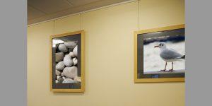 Warteraum mit zwei Fotodrucken