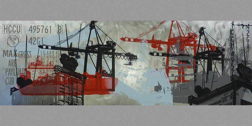 Gemälde von Meike Kohls zum Thema Container und Schifffahrt