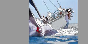 Gemälde mit Segelboot von Meike Müller