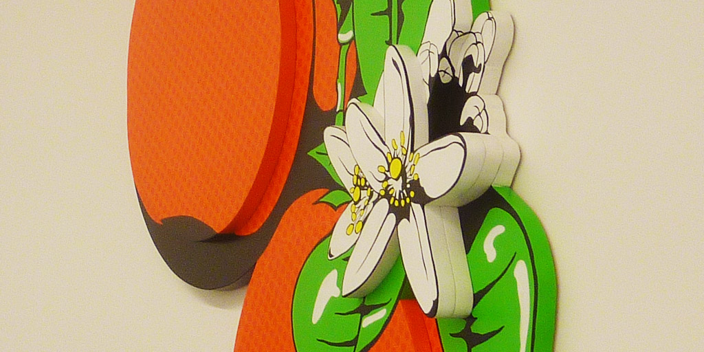 Holzrelief Orangen von Meike Kohls im Ausschnitt