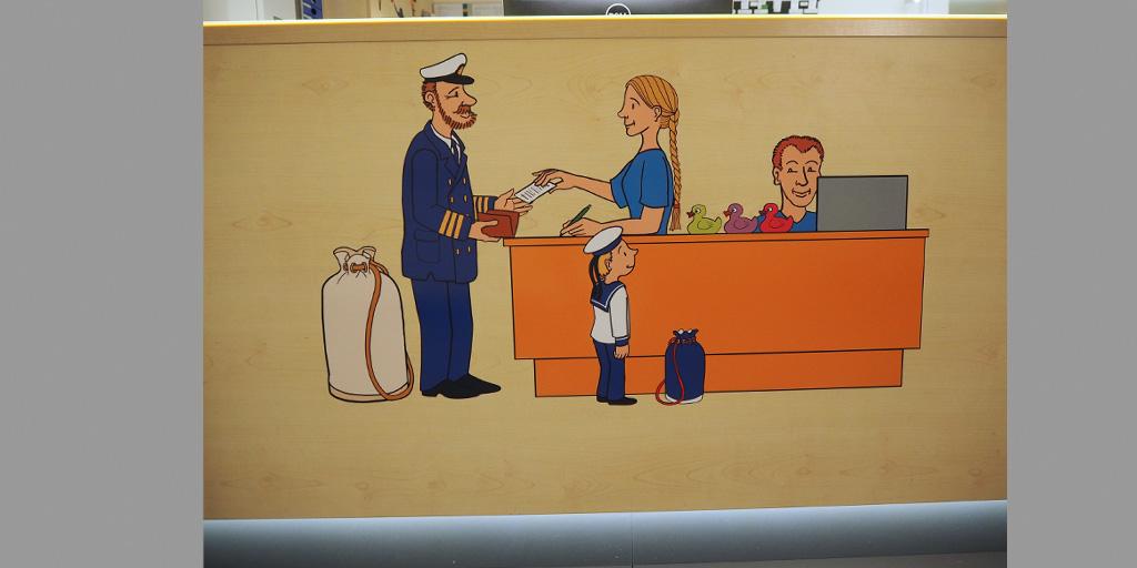 Krankenhaustresen mit Illustration von Christian Schütte als Aufkleber