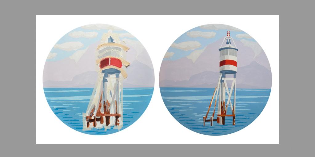 Gemälde Leuchtturm von Meike Kohls für tesa SE mit Klebebandtechnik