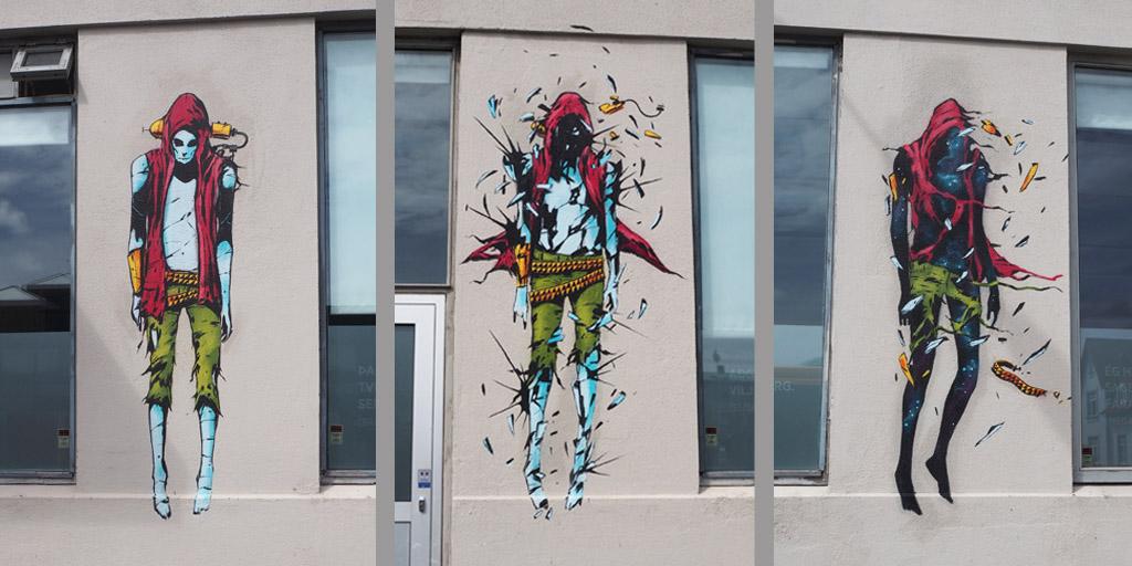 Hausgestaltung in Reykjavík mit drei Figuren