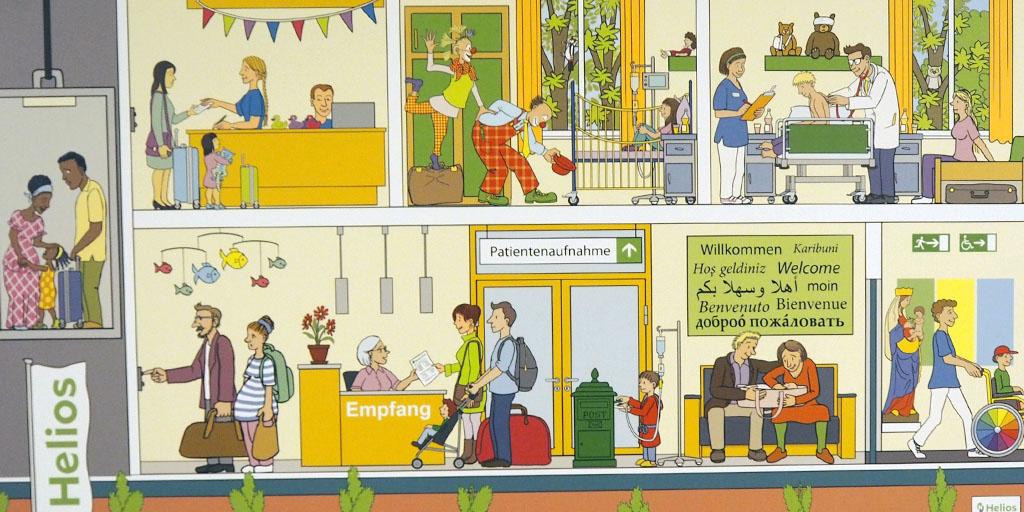 Ausschnit aus Wimmelbild von Christian Schütte für die Helios Mariahilf Klinik HH