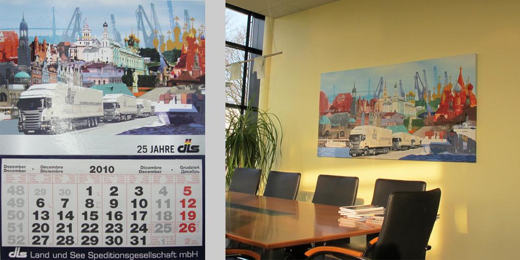 Wandkalender und Raumgestaltung mit einem Gemälde für dls GmbH
