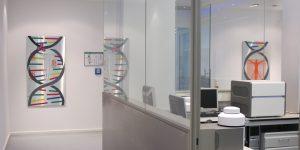 Siebdruck auf Aluplatte - MLL Münchner Leukämielabor - Künstlerin Meike Kohls - Laborflure - Thema PCR