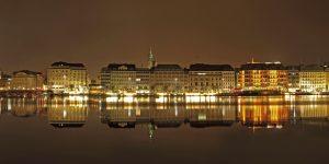 Binnenalster bei Nacht, Fotograf M. Krüttgen
