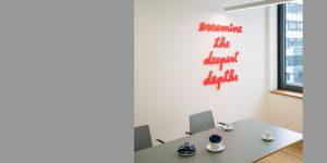 Wortkunst - Projekt tesa SE - Künstler Rupprecht Matthies - examine the deepest depths